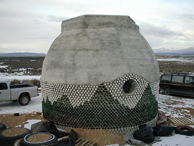 Earthship in the form of a dome, outside of Taos, New Mexico.