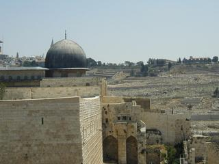 The Al Aqsa Mosque, built on the site of the old Jewish Temple. The ground level is an archeological dig which has revealed the old Temple stairs, many stones pushed off the top of the Temple by the Romans, and an ancient Arab 'apartment' complex.